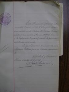 Licencia otorgada a Lorenzo Trujillo Marín para exhibir la Exposición Imperial
