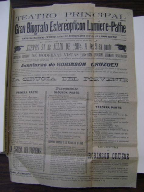"""Jueves 21 de julio de 1904 el Teatro Principal presenta las """"Aventuras de Robinson Cruzoe"""""""