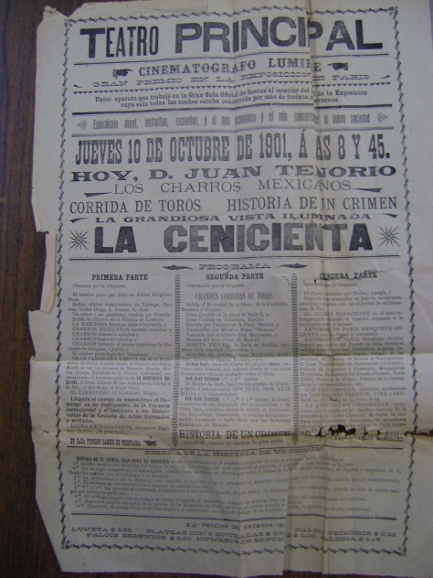 Cartel del Teatro Principal correspondiente al 10 de octubre de 1901