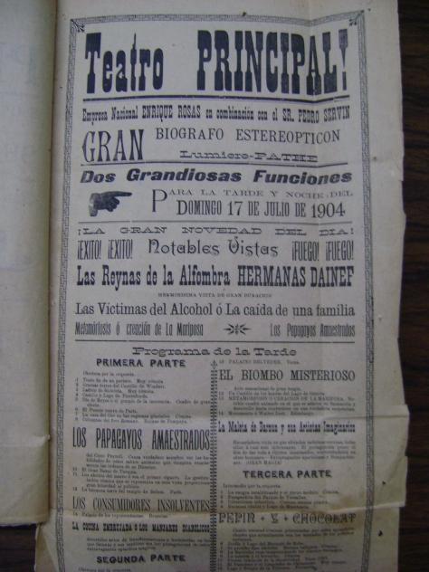 Cartel del 17 de julio de 1904 donde anuncian el GRAN BIÓGRAFO ESTEREOPTICÓN