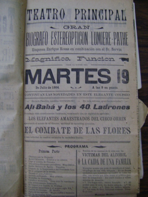 """""""Magnífica función"""" en el Teatro Principal anuncia el cartel del 19 de julio de 1904"""