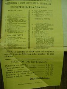 Cartel del Teatro Principal del 9 de mayo de 1901