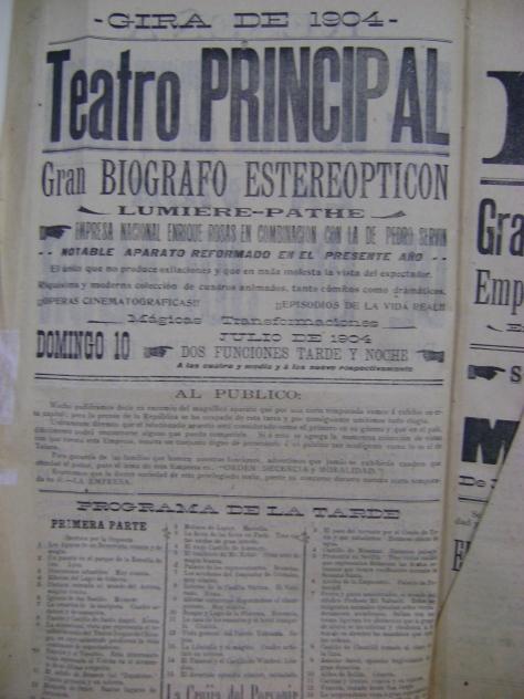 Cartel del Teatro Principal del 10 de julio de 1904