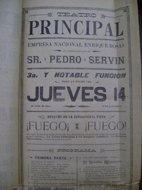 Cartel del Teatro Principal anunciando el cinematógrafo de Enrique Rosas el 14 de julio de 1904