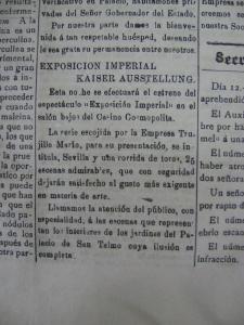 Exposición Imperial Kaiser Ausstellung en la Gaceta de Gobierno del 15 de octubre de 1898