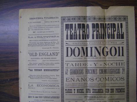Cartel de la función del teatro Principal del domingo 11 de diciembre de 1910