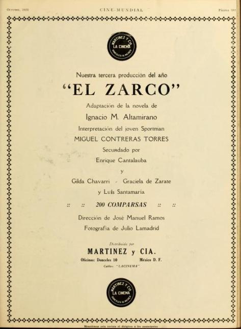 Anuncio de Matínez y Cía. aparecido en el número de octubre de 1920