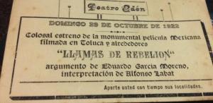 Anuncio de Llamas de rebelión en el Teatro Edén