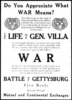Anuncio de The Mutual Film Corporation de Nueva York en The Moving Picture World del 16 de mayo de 1914