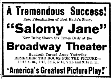 Salomy Jane in Oakland Tribune