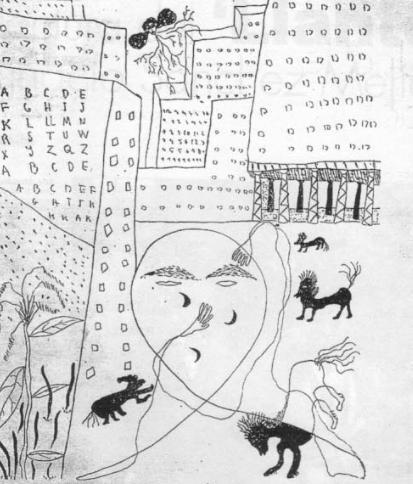 """""""Autorretrato en Nueva York"""" (1929). Dibujo de Federico García Lorca"""