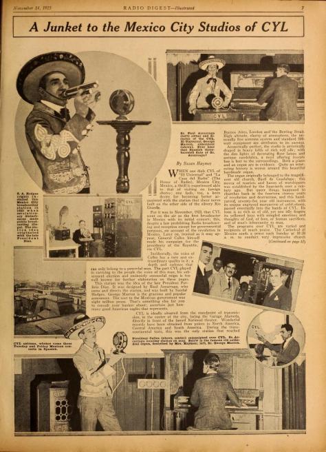 Artículo publicado en Radio Digest, Vol. XV, No. 6, pp. 7 y 12 del sábado 14 de noviembre de 1925.