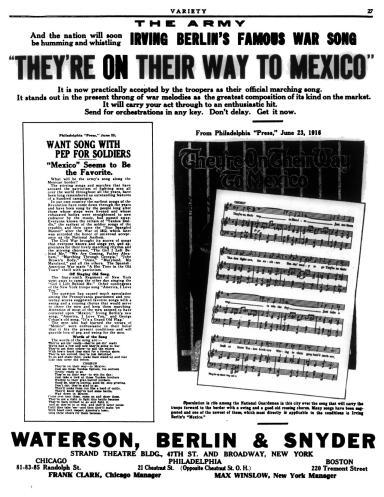 Irving Berlin song, Variety, Vol. XLIII, No. 5, Jun. 20, 1916, p. 27