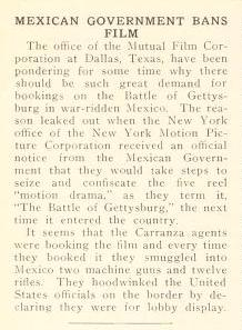 Mexican government bans film. Motion Picture News. Jan. 10, 1914, p. 46