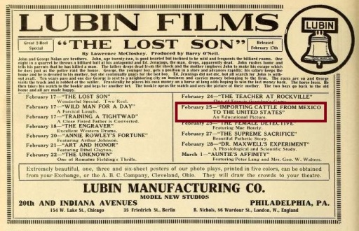 Anuncio de la Lubin en Motography (Vol. IX, No. 4, Feb. 15, 1913, p. 6)
