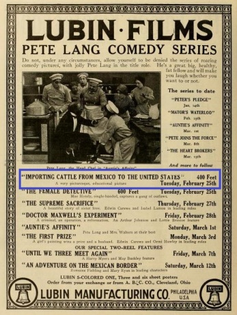 Anuncio publicado en The Moving Picture World (Vol. XV, No. 9, Mar. 1, 1913, p. 860)
