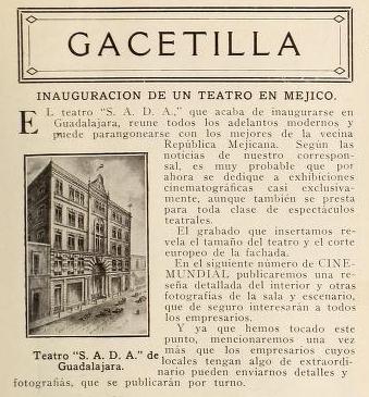 Gacetilla publicada en Cine-Mundial de octubre de 1916 (Vol. I, No. 10, p. 437)