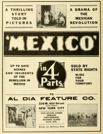 Anuncio publicado en The Moving Picture World del 7 de febrero de 1914 (Vol. XIX, No. 6, p. 698)