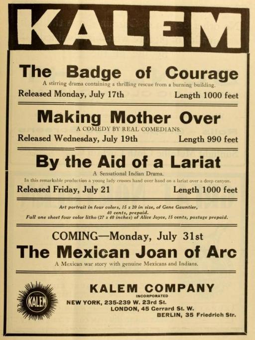 The Moving Picture World del 15 de julio de 1911 (Vol. IX, No. 1,  p. 9)
