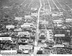 Vista aérea con los cines del centro de la ciudad de México (1946)