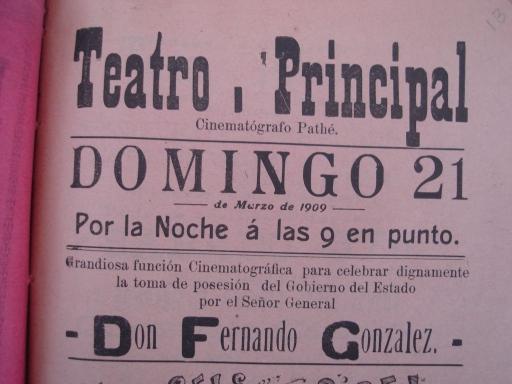 Parte superior del cartel del Teatro Principal de la función de marzo 21 de 1909