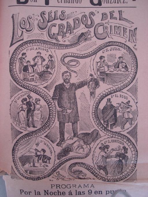 Grabado de Posada en el cartel del 21 de marzo de 1909 de Teatro Principal de Toluca