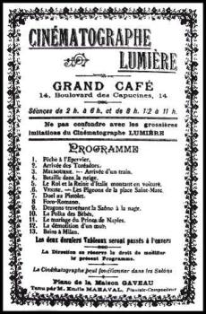Programa del Cinematógrafo Lumière en el Grand Café del Boulevard des Capucines donde ya se especificaba el nombre del pianista y compositor Émile Maraval.