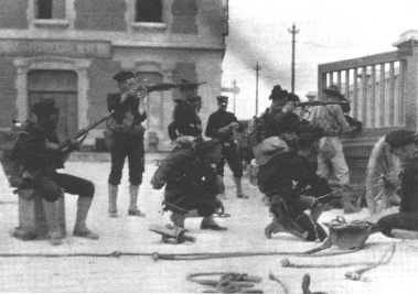 A still from Victor Milner's wildly successful reconstruction of the US Marines' assault on the post office at Vera Cruz, April 1914