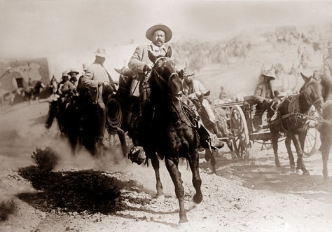 Pancho Villa pictured shortly after the Battle of Ojinaga, in January 1914 – an engagement he delayed for the benefit of American newsreel cameras. The still comes from Mutual Film's exclusive footage.