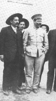 Pancho Villa wearing the special general's uniform provided for him by Mutual Films.