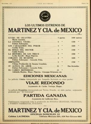 Viaje Redondo de Martínez y Cía anuncio, Cine-Mundial, Vol. V, No. 9, Sep. 20, p. 763
