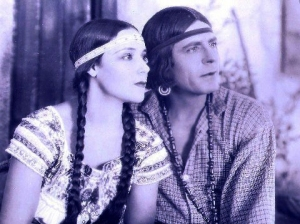Tinted still from 'Ramona' (1928) with Dolores Del Rio and Warner Baxter. Photo Courtesy Library of Congress, Motion Picture, Broadcasting and Recorded Sound Division