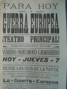 Parte superior del cartel del teatro Principal del 7 de enero de 1915